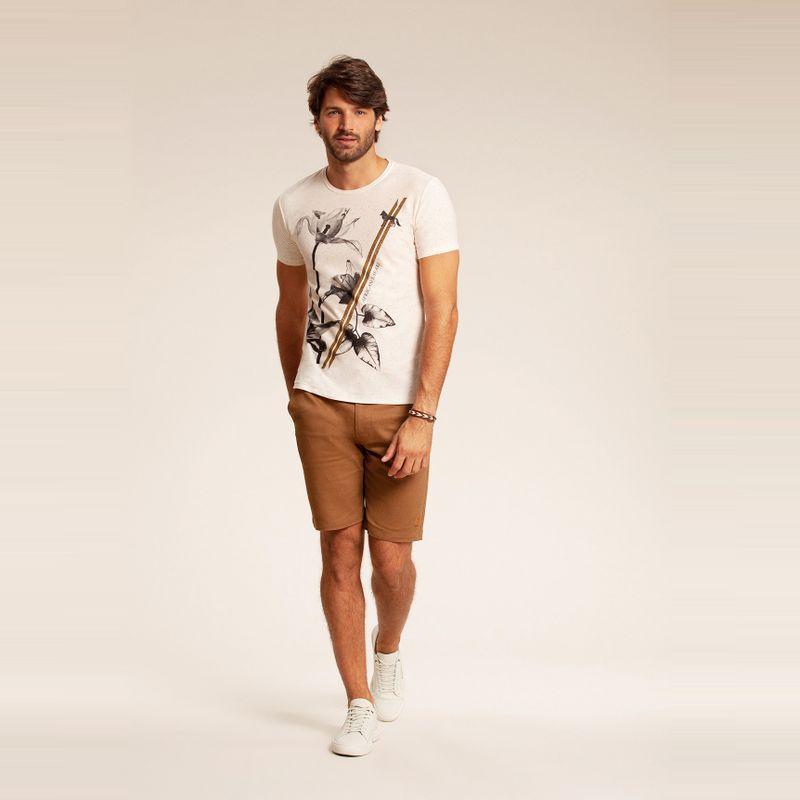 Camiseta resort manga curta estampa floral Off White 85102137-1490_1