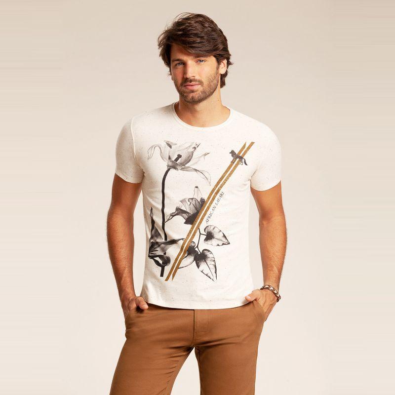 Camiseta resort manga curta estampa floral Off White 85102137-1490_2