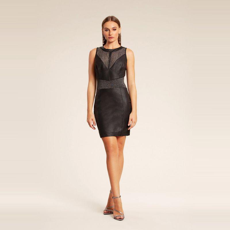 Vestido couro com detalhe transparência