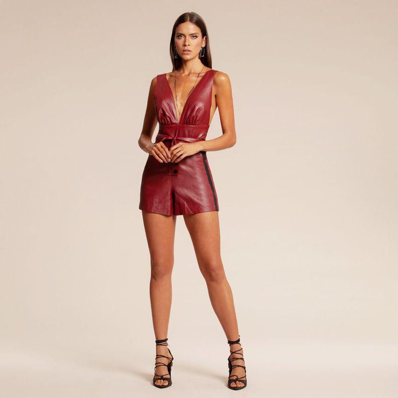 Short alfaiataria de couro vermelho 86217013-1574_1_new