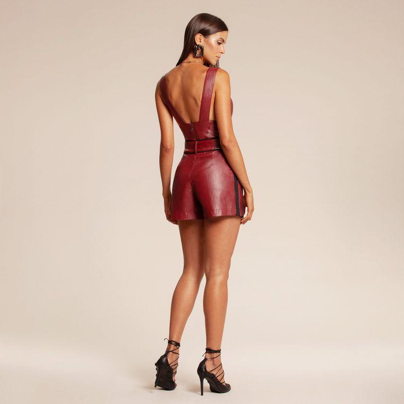 Short alfaiataria de couro vermelho 86217013-1574_4_new