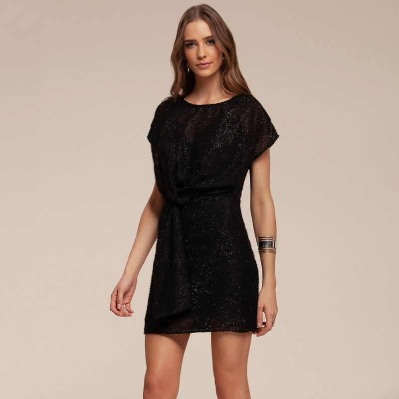 Vestido black mini fringe