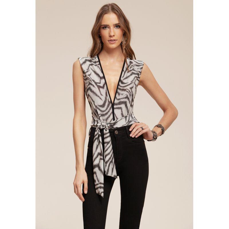 Body Ikat Zebra com faixa para amarração