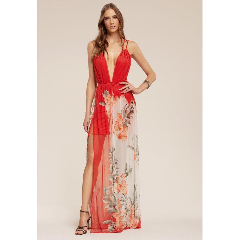 Vestido longo Floral Aquarela