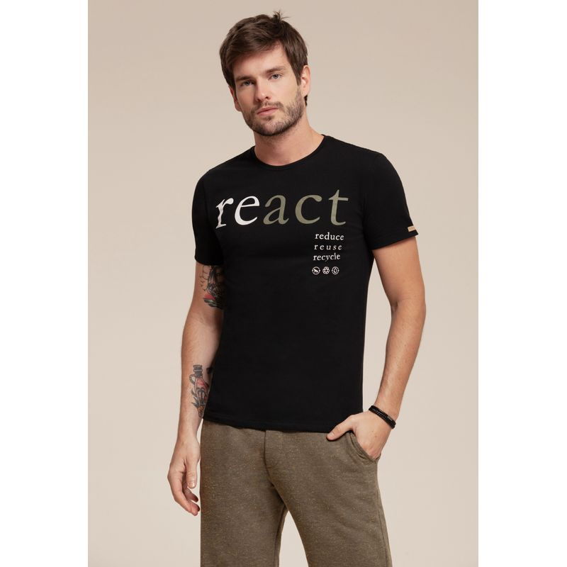 Camiseta React manga curta estampada