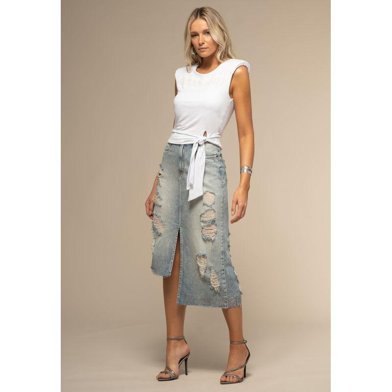 Saia Midi Jeans Detalhes Destroyed
