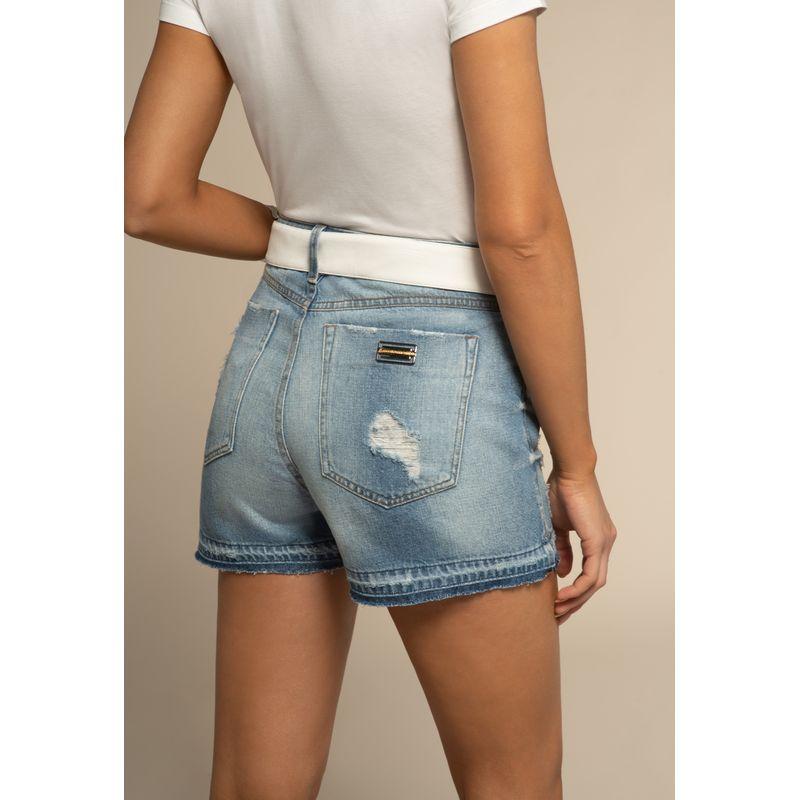 Short Jeans Destroyed Detalhe Barra