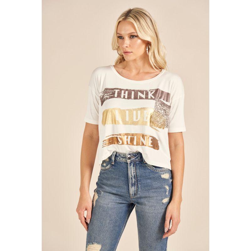 T-Shirt Blanc Lettering Metalizado