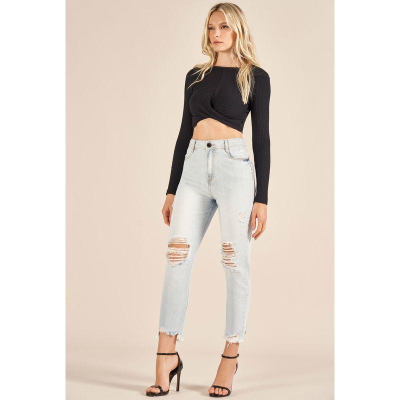 Calça Jeans Gigi Destroyed Detalhe Aplicação